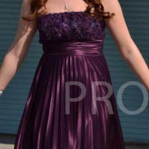 purple floral prom dress